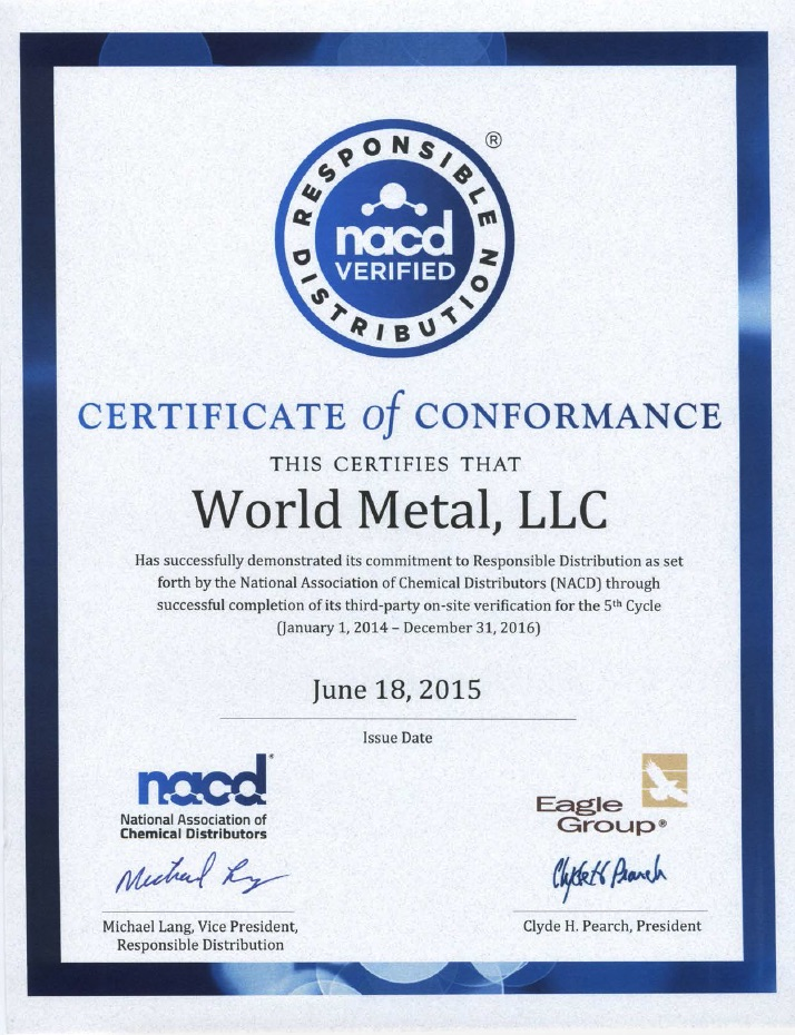 nacd verified certificate of conformance